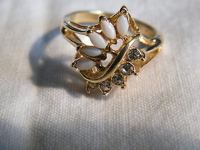 Beautiful Gold Tone Cocktail Ring Clear Rhinestones White Cabachons Size 7 WOW