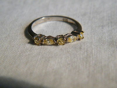 Beautiful Cocktail Ring Silver Tone Band Signed 925 Yellow Rhinestones Size 5.5