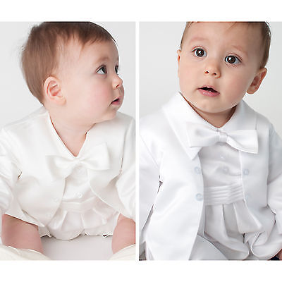 Baby Boys Christening Outfit / Christening Suit / Christening Romper White Ivory