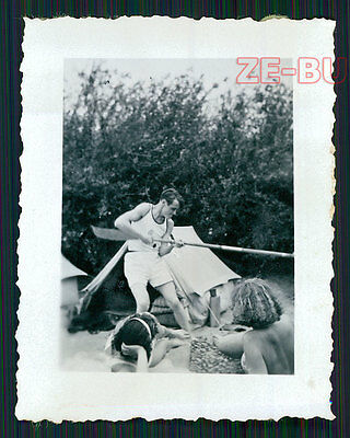 vintage photo HANDSOME YOUNG MAN IN SPORTSWEAR POSING FOR GIRLS 1930s