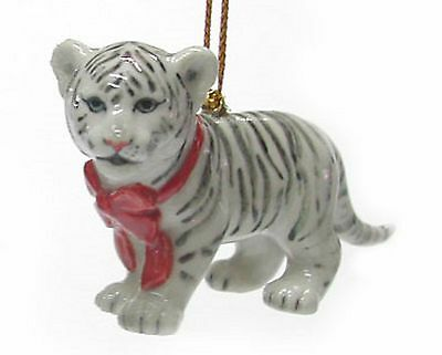 R307 - Northern Rose   White Tiger Cub with Red Bow Christmas Ornament