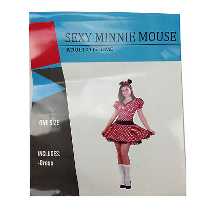 Sexy Minnie Mouse Costume Fancy Halloween Red Dress With Polka Dots One Size New