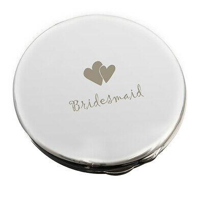 Personalised Silver Plated Wedding Compact Mirror -Bridesmaid & Heart Engraving