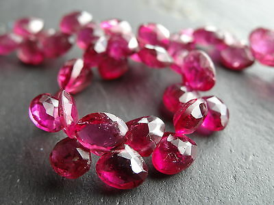 HAND FACETED PINK TOURMALINE DROPS, graduated 5x5mm - 6x6mm, 8.5""