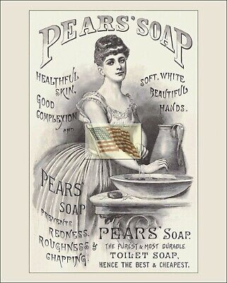 REPRINT PICTURE of old PEARS' SOAP ad 1886 WOMAN WASHING AT BOWL & PITCHER 8x10