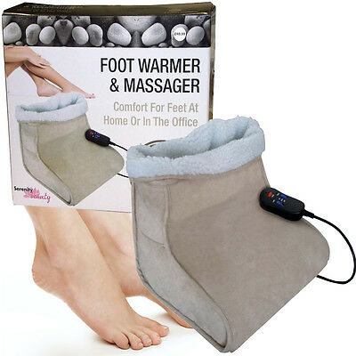 Foot Warmer Electric Massager Relaxing Heated Feet Beige Comfort Fleece Suede