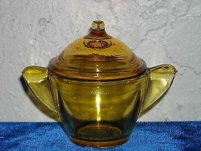 Akro Agate Large Stippled Band Sugar and Lid As Is  Amber