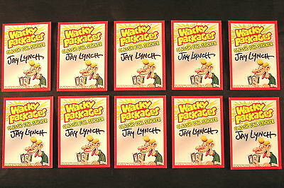 2010 Wacky Packages ANS7 SIGNED SET OF 10 FOIL STICKERS autographed JAY LYNCH nm