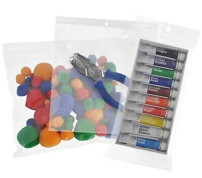 Assorted Clear Reclosable Bags HANG HOLE Plastic Small to Big 2mil-4mil