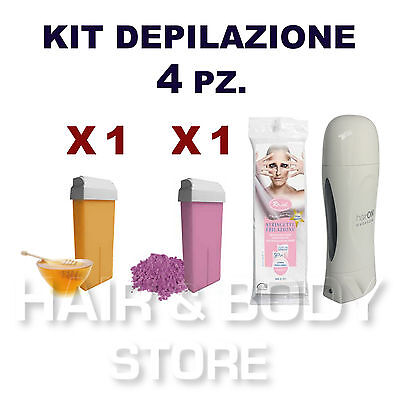 KIT SCALDACERA AXIMA + 2 ricariche cera 100ml TITANIO MIELE + 50 strisce in TNT