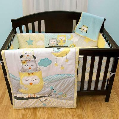 Sleeping Owls Forest Animals Infant Baby Neutral Nursery 5 Pc Crib Bedding Set