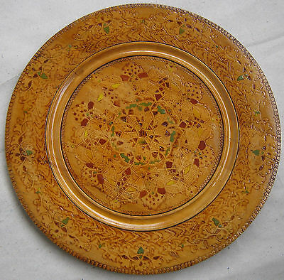 "11+""   OLD  wooden HANDMADE pyrography wall plate dish VTG HANDPAINTED folk art"