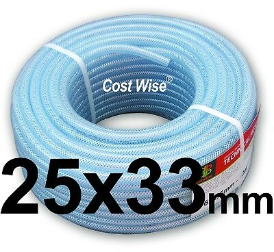25mm ID CLEAR PVC BRAIDED HOSE-FOOD GRADE-OIL/WATER/GASES- REINFORCED PIPE TUBE
