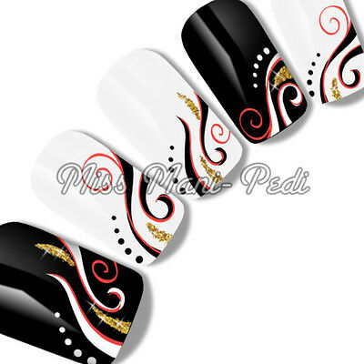 Nail Art Water Transfers Decals Gold Glitter Black White Red Swirls Spirals F043