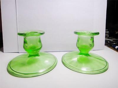 2 Green Depression Glass Candle Holders