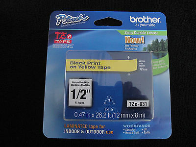 """Brother P-Touch TZe-631 BLACK PRINT ON YELLOW LABEL TAPE 1/2"""" 12MM X8M ORIGINAL"""