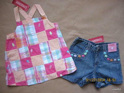 Gymboree Popsicle Party Ice Cream  Patchwork Tank Top Denim Button Shorts 6 NWT