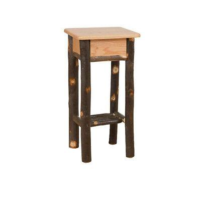 Rustic Hickory and Oak Phone Stand / End Table - Amish Made in USA