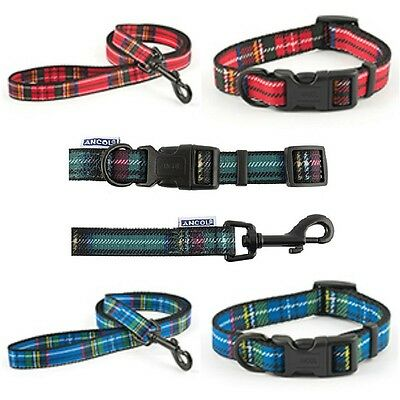 Ancol Tartan Adjustable Dog Collar or Lead Blue / Red /Purple Small Medium Large