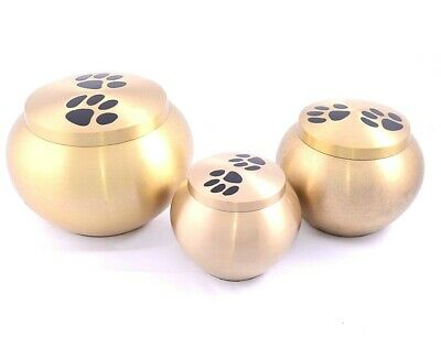 Gold Paw Print Pet Cremation Urn keepsake, heart, small, med, large