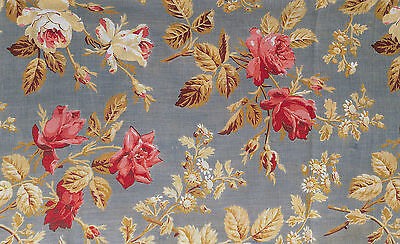 Antique 1870 Large Print Roses with Gold Leaves Fabric