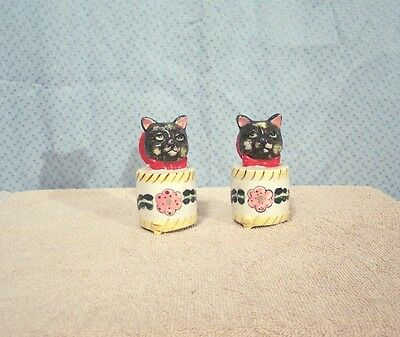 Vintage Cat Head Novelty Salt & Pepper Shakers