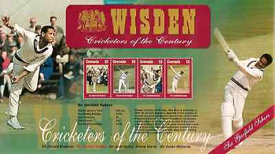 GRENADA 2000 WISDEN CRICKET SIR GARFIELD SOBERS SHEETLET Mint Never Hinged