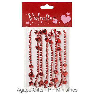 Bright Red Shiny Valentine Hearts and Beads Garlands 4ft Long