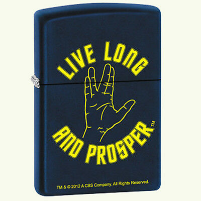 "Star Trek Command Salute ""Live Long & Prosper""  Novelty Blue Zippo Lighter"