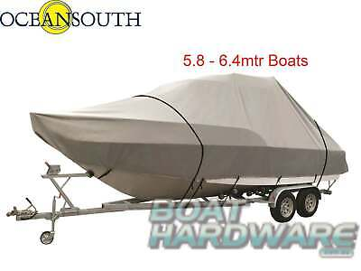 LARGE JUMBO BOAT COVER Suit 5.8-6.4m Thick Canvas Trailerable UV Water Resistant
