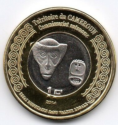 FRENCH AFRICA CAMEROON 1F 2014 bimetal, Monkey, unusual coinage
