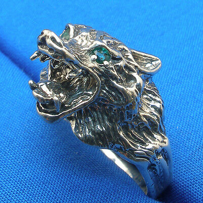 Snarling Wolf Ring Natural Emerald Eyes sterling silver, made to order your size