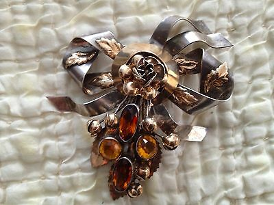 Hobe Sterling & 14K Gold  BOW FLORALS AMBER STONE BROOCH Silver Pin
