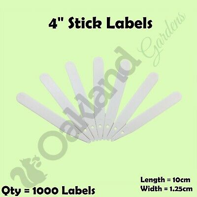 """1000 x 4"""" White Plastic Plant Stick in Labels 10cm Seed Tray Garden Markers"""