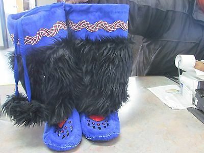 Native American  Beaded  Mukluks 10 1/2 Inches Long  Red Bear Claw  Fur Blue Dye