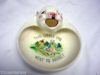VINTAGE 1920S THIS LITTLE PIG WENT TO MARKET FIGURAL BABY BOWL PLATE CERAMIC