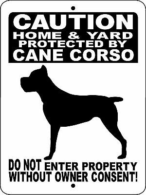 "CANE CORSO DOG SIGN,Guard Dog,Aluminum Sign 12"" x 9"",Security,Gate,H2496HYCCBLK"
