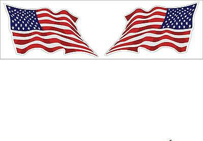 USA American Wavy Flag 1 Pair Motor Cycle Helmet Decal Stickers Made in USA