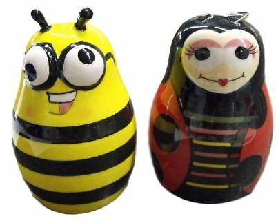 French country Chic Collectable Novelty Salt and Pepper BEE and LADY BEETLE New