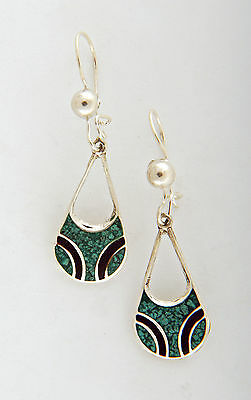 Tumi 925 sterling silver drop earrings turquoise Mexican fairtrade free gift box