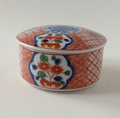 Vintage Imari Trinket Box Takahashi Japan Porcelain Blue Red Green EUC