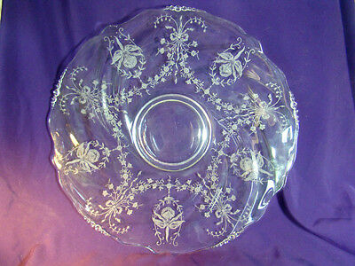 HIESEY ETCHED GLASS TORTE PLATE Platter Charger ORCHID
