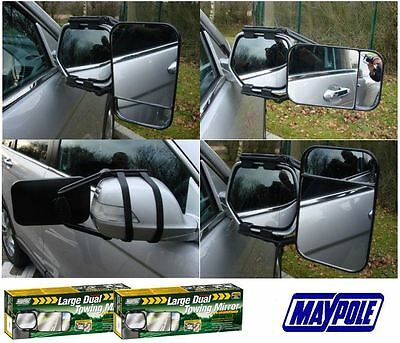 PAIR OF MAYPOLE LARGE DUAL TOWING MIRRORS GLASS WING EXTENSION for CARAVAN