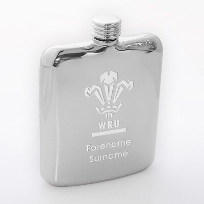 Personalised Engraved Wales Welsh Ruby WRU Hip Flask Gifts Souvenirs for Fans