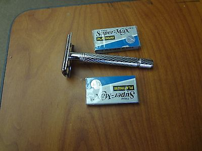 CLASSIC DOUBLE EDGE SHAVING SAFETY RAZOR +10 BLADES Brand New