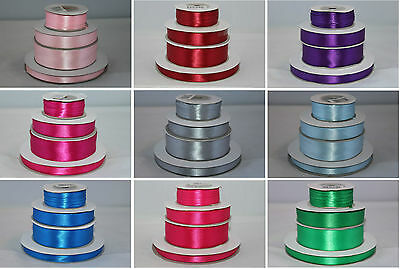 Full Roll Double Sided Faced Satin Ribbon - Various Colours And Widths
