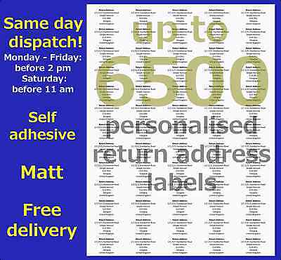 Personalised Labels Self Adhesive Return Address Mini Pre Printed 65-6500 Fast!