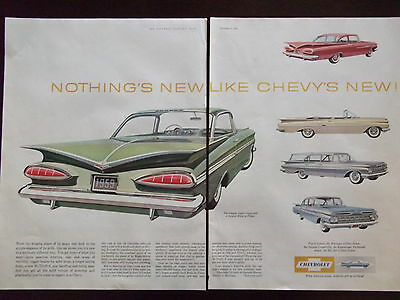 1959 Chevrolet Impala Sport Coupe + 3 Other Models 2 Full Page Advertisement