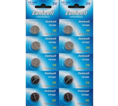10 X Eunicell Cr1620 3 Volt Lithium Button/coin Batteries For Car Key Fob Etc