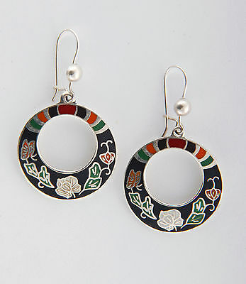Tumi 925 sterling silver round Mexican earrings flowers handmade  fairtrade 25mm